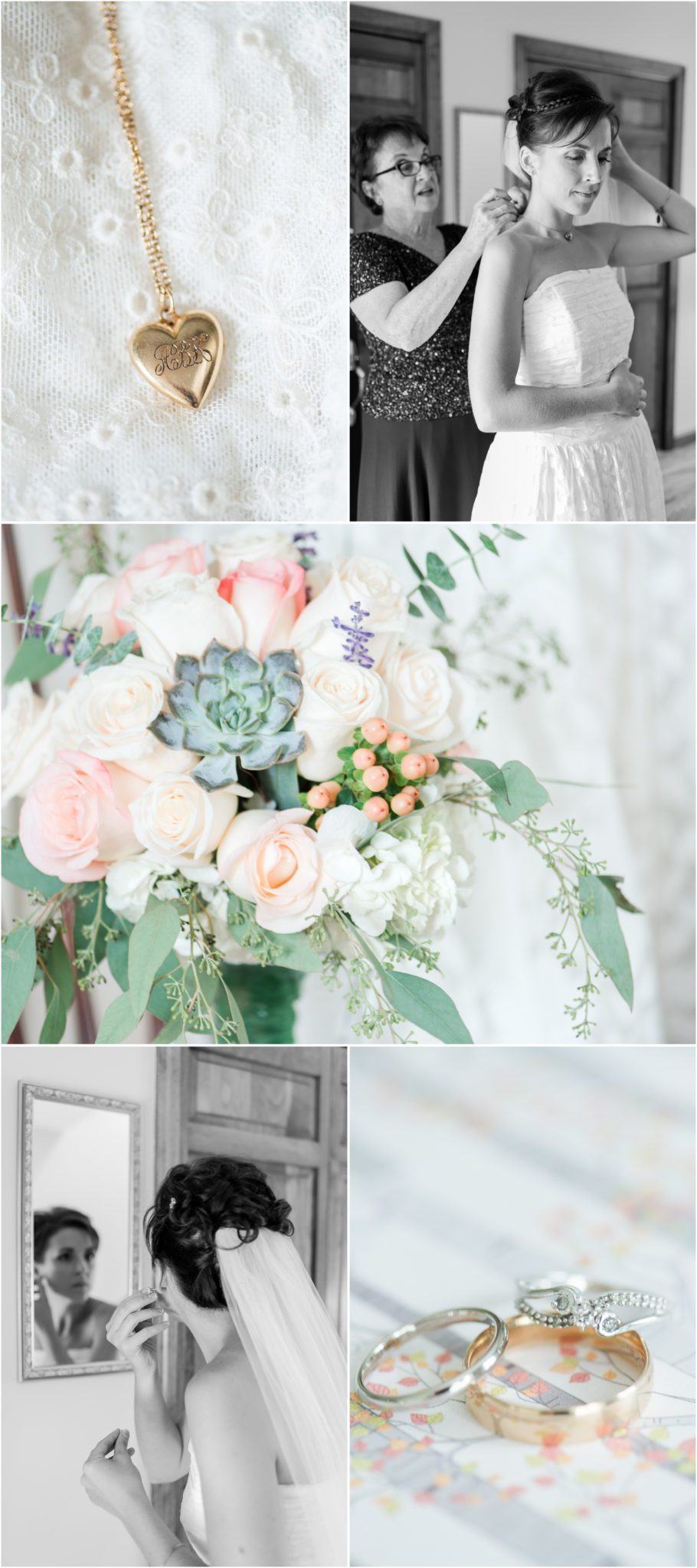 Syracuse NY wedding bridal getting ready photos with succulent details