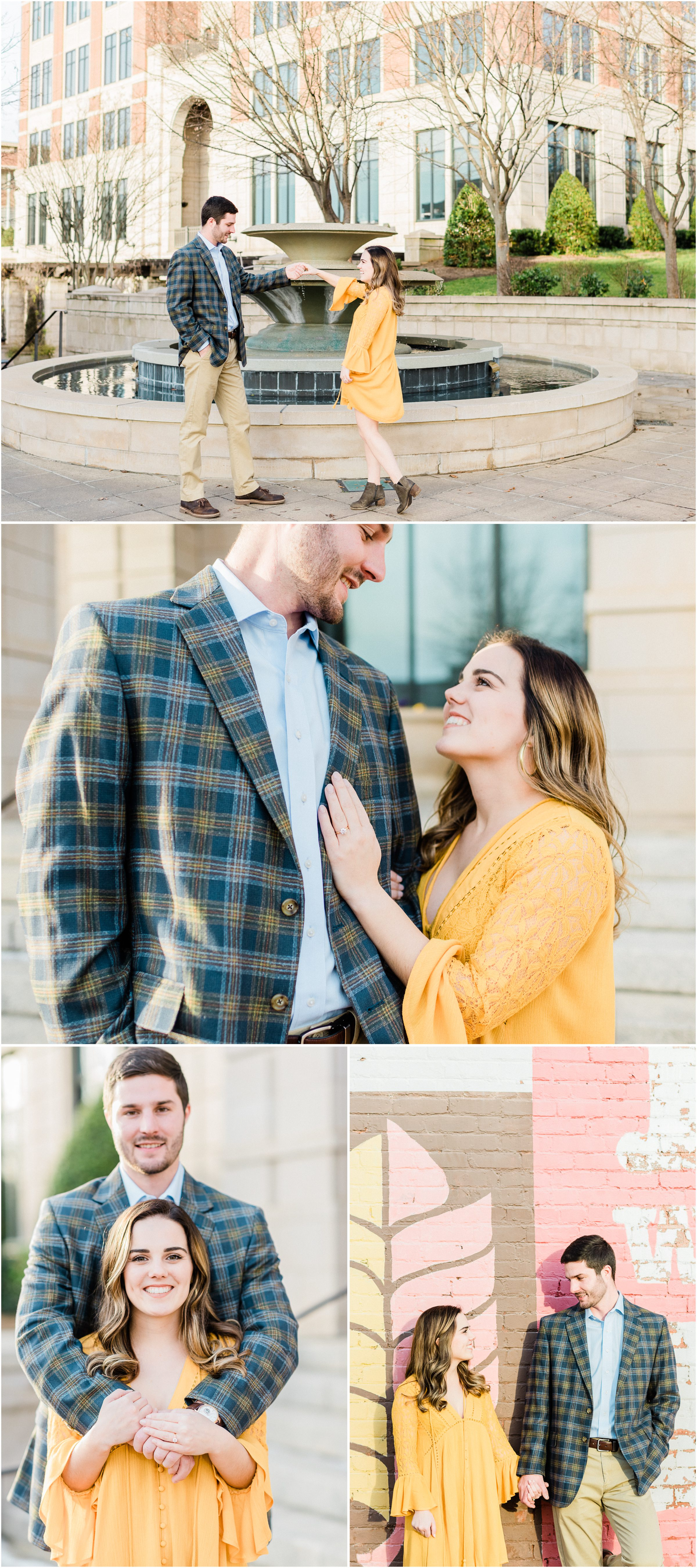 Downtown winter Spartanburg engagement session