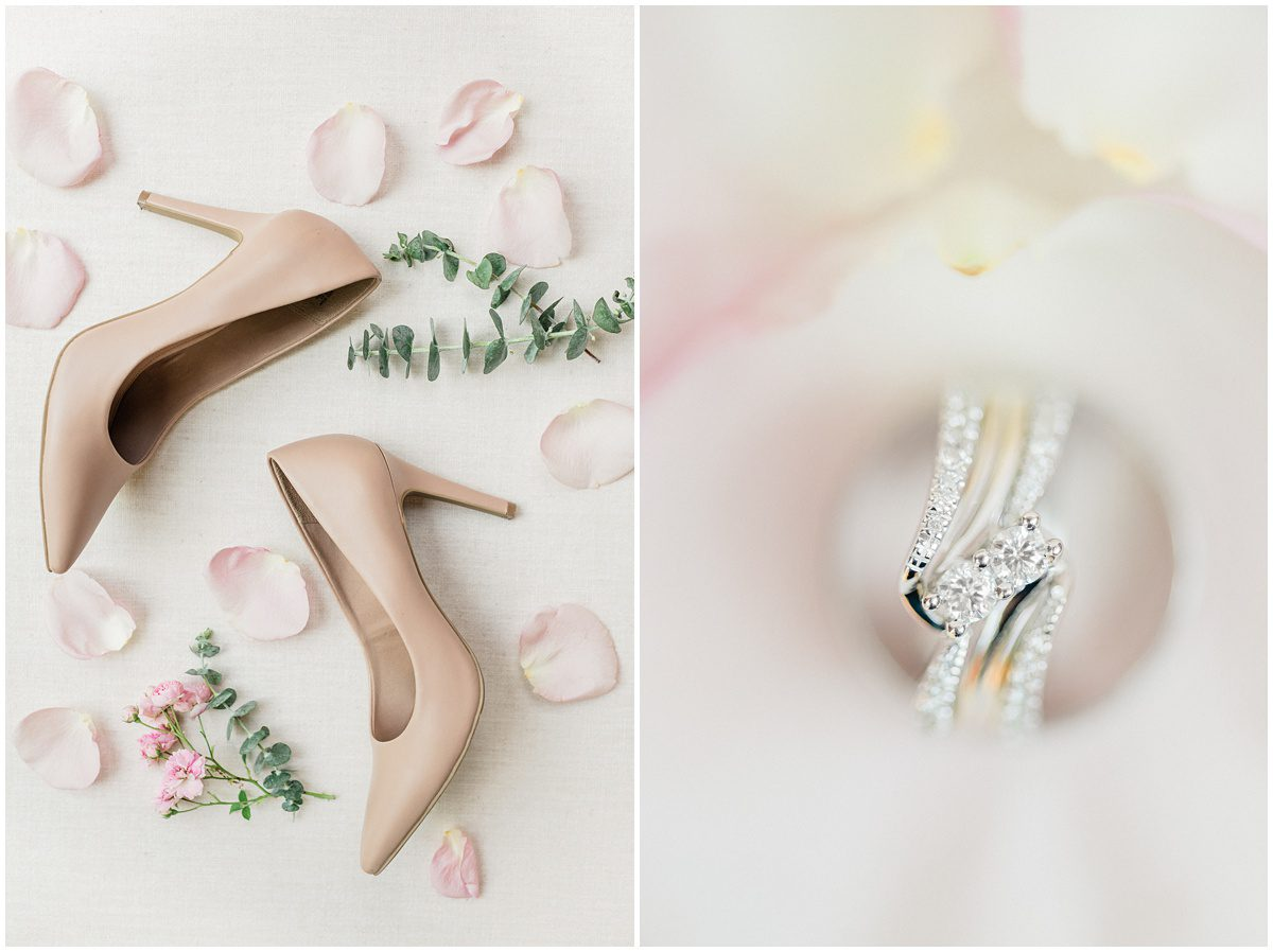 Blush bridal details with eucalyptus