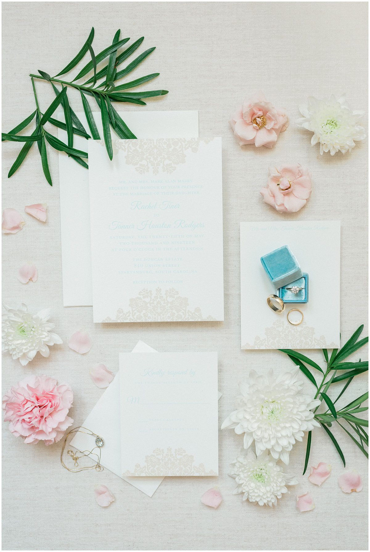 Blue and blush wedding invitation suite