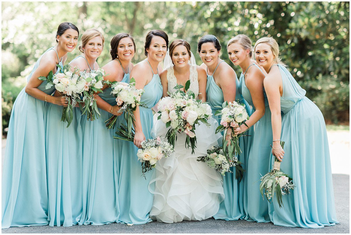 Light blue bridesmaids dresses, Duncan Estate Wedding