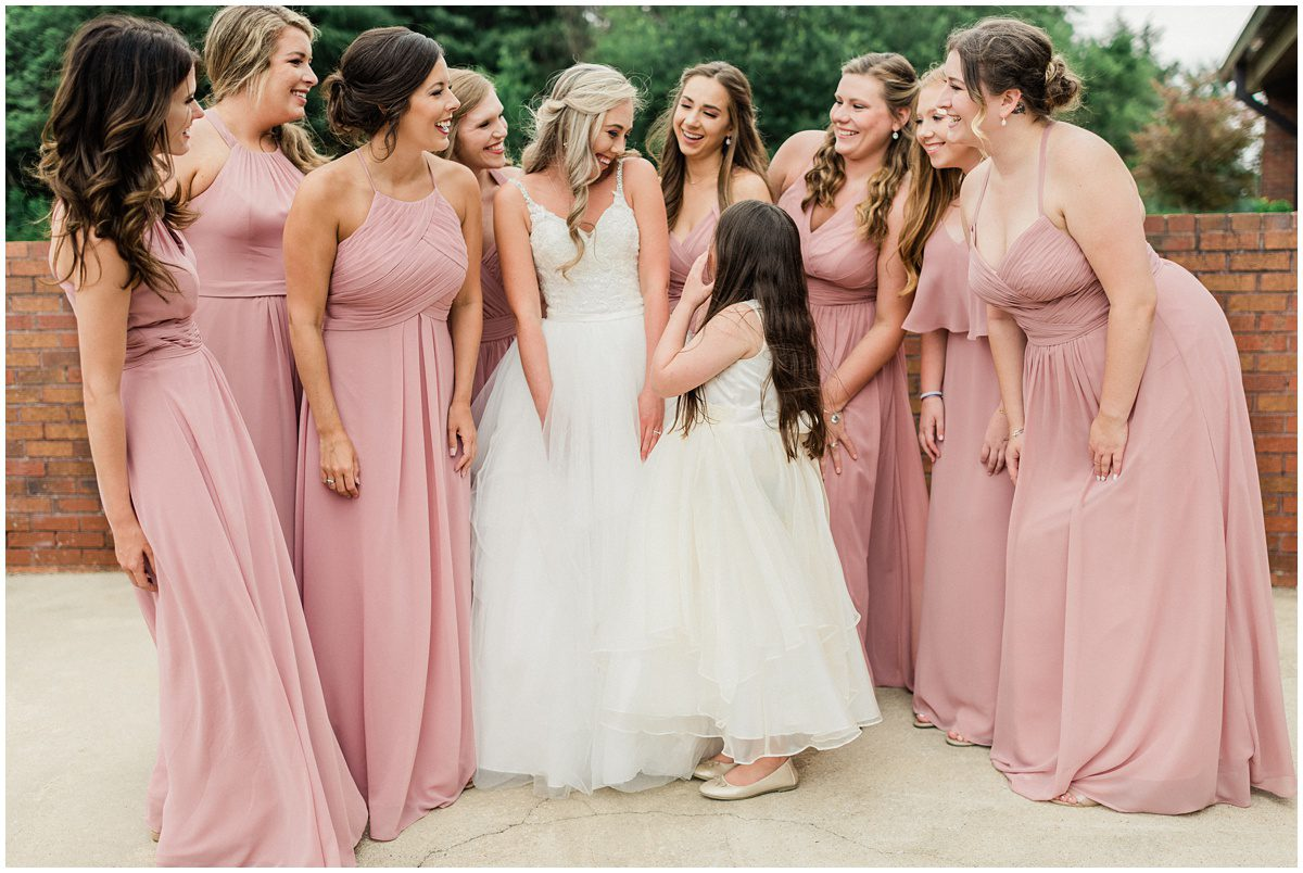 Dusty Rose Bridesmaid dresses getting ready photos