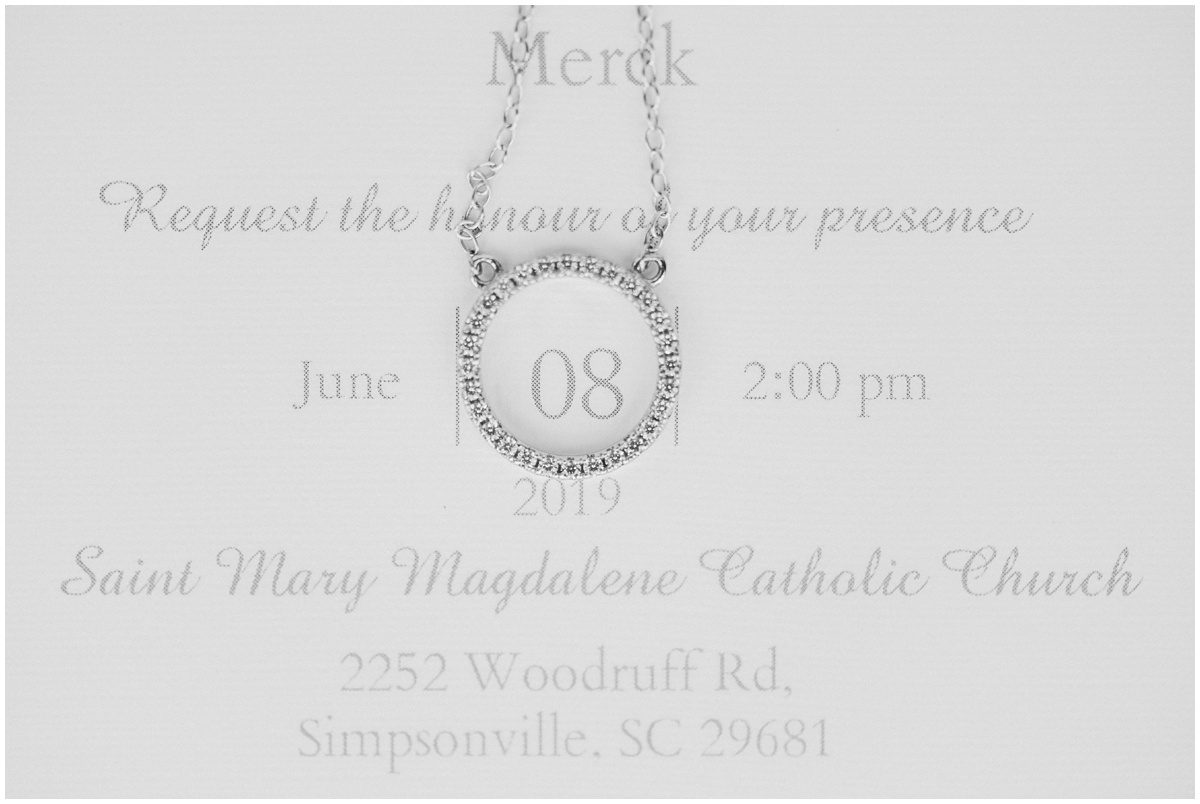 Wedding necklace and invitation