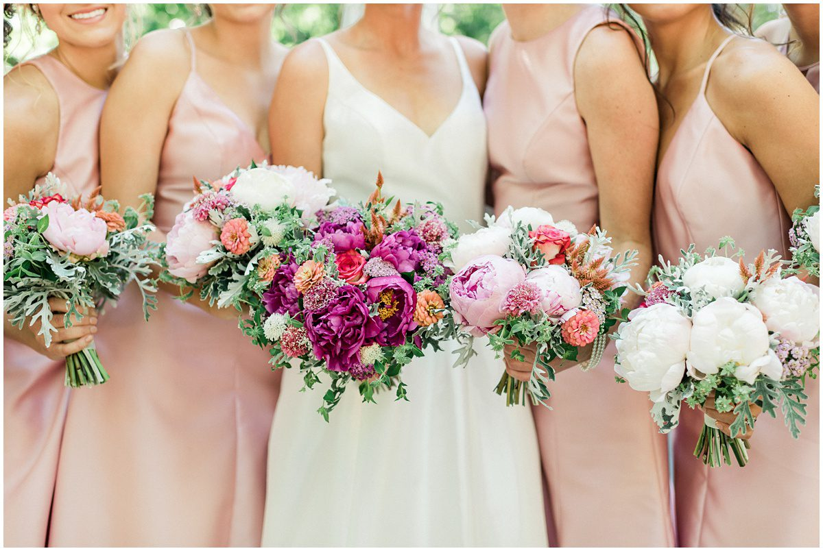 Bright pink wedding bouquets