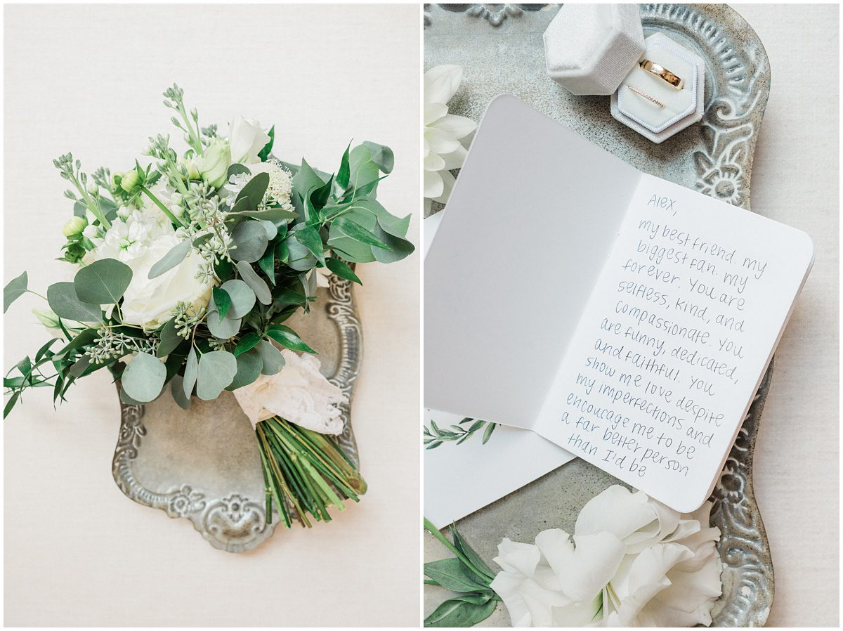 Green and Ivory wedding bridal details