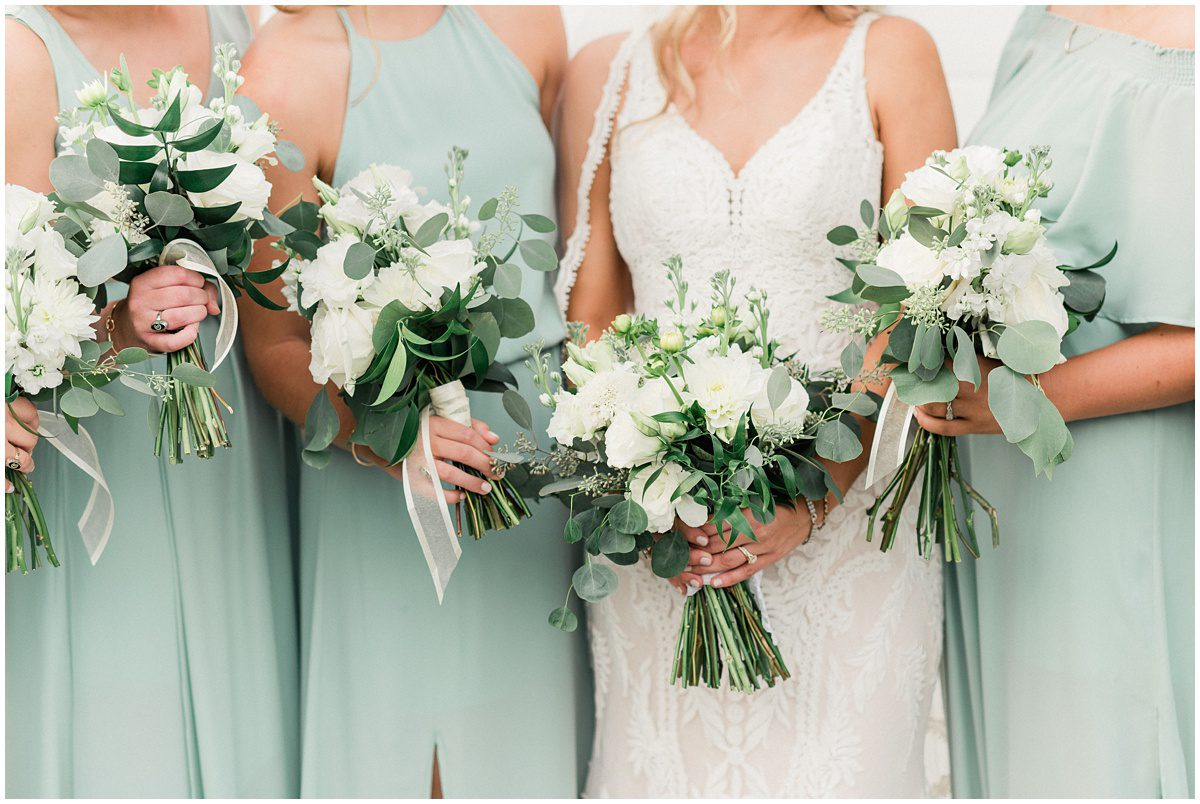 White wedding bouquets with greenery and eucalyptus