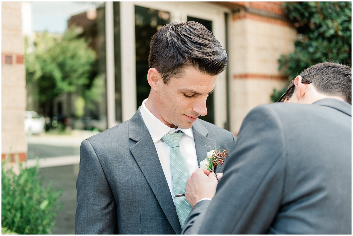 Groom getting ready photos   downtown Greenville wedding
