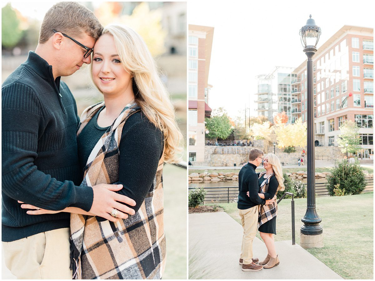 Fall Downtown Greenville Engagement Photos