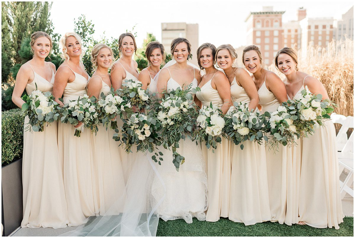Bride & Bridesmaid photos with champagne colored dresses