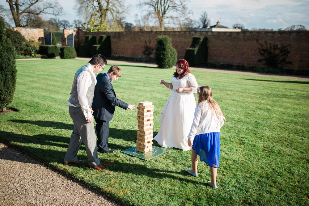 Giant Jenga is always a popular lawn game for a summer wedding.