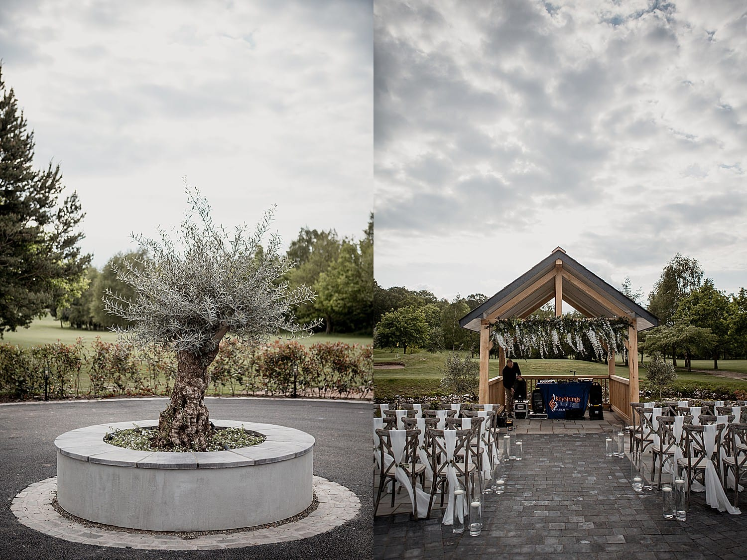 Outdoor ceremony space at Hartford Golf Club, a Northwich wedding venue.