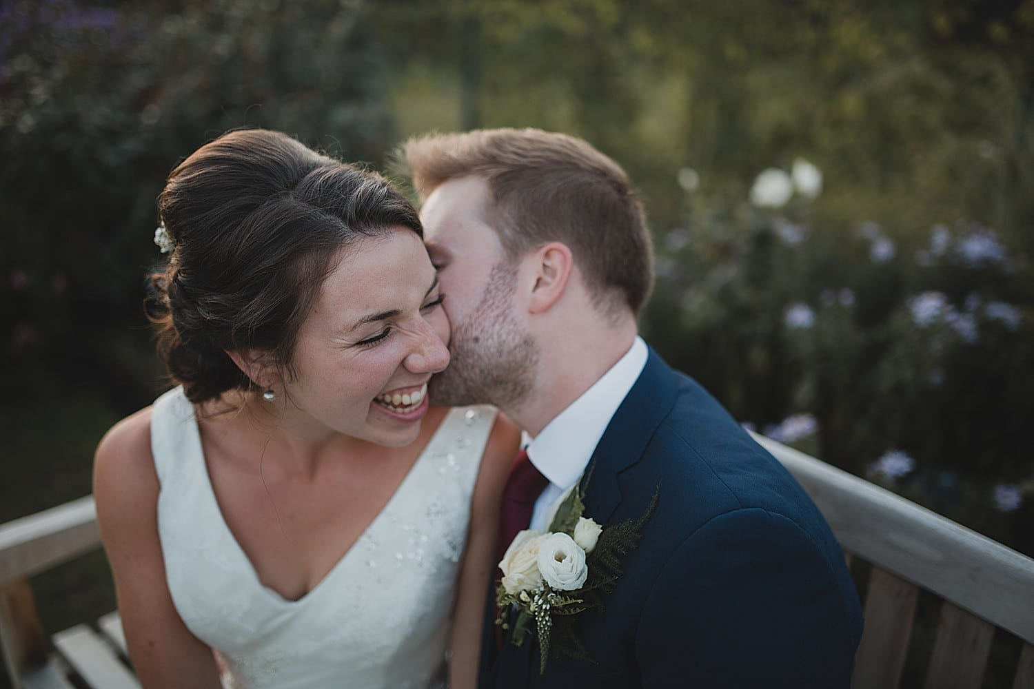bride and groom at Abbeywood estate gardens