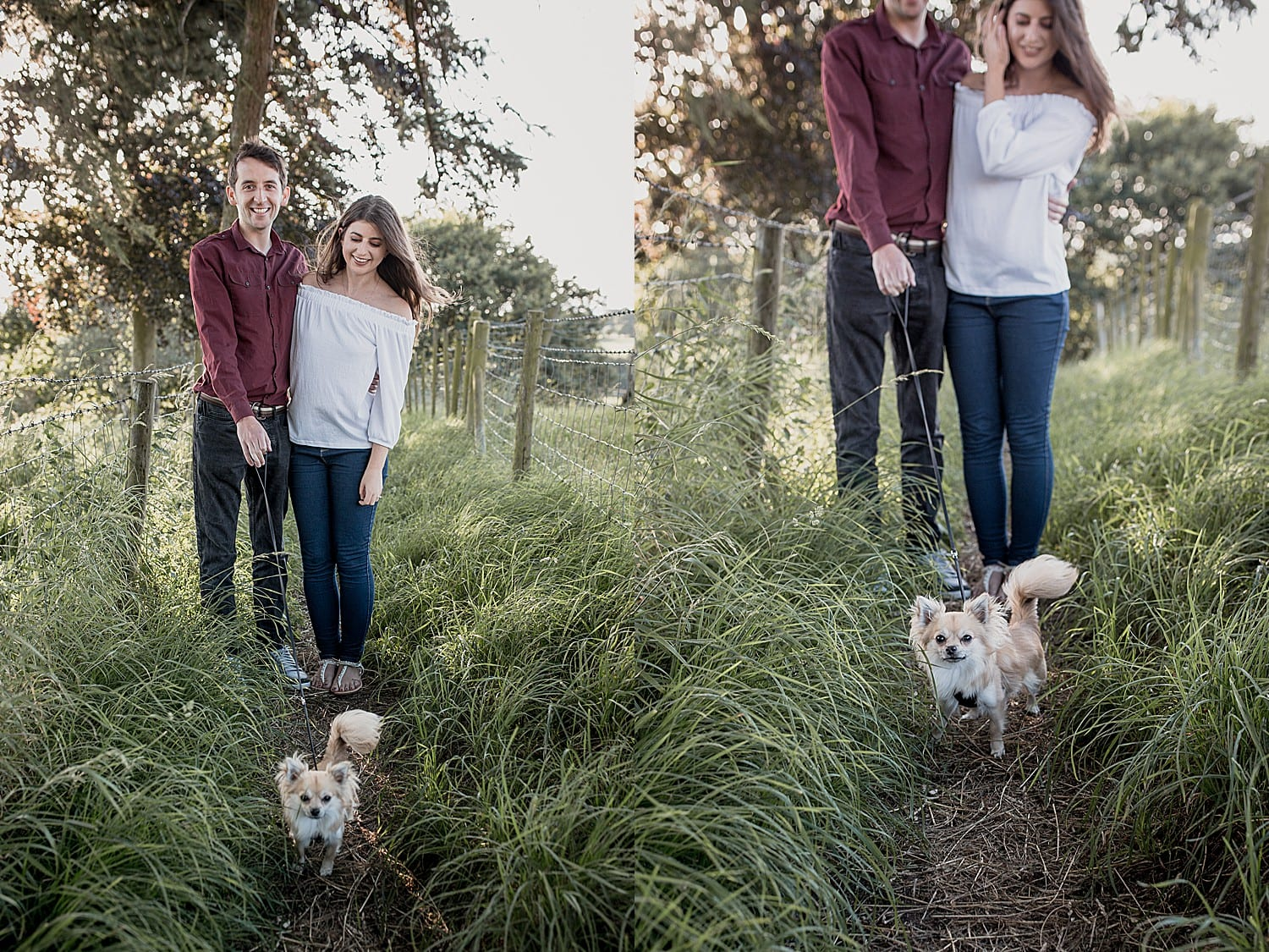 Couples engagement shoot with their Chihuahua