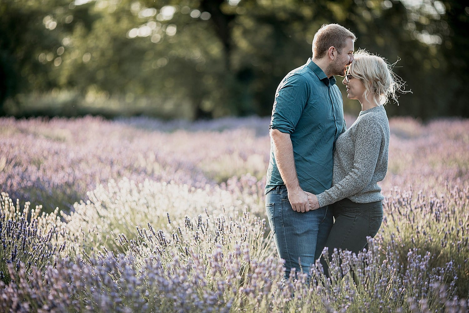 enagement shoot in lavender fields in cheshire