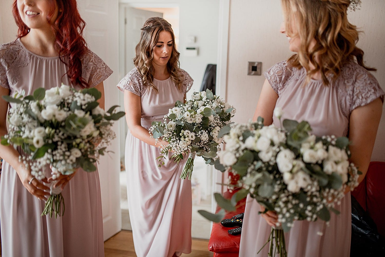 Bridesmaids and bouquets at Staffordshire wedding
