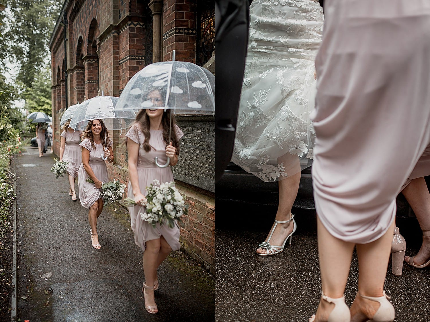 Bride arrives at Staffordshire wedding in the rain