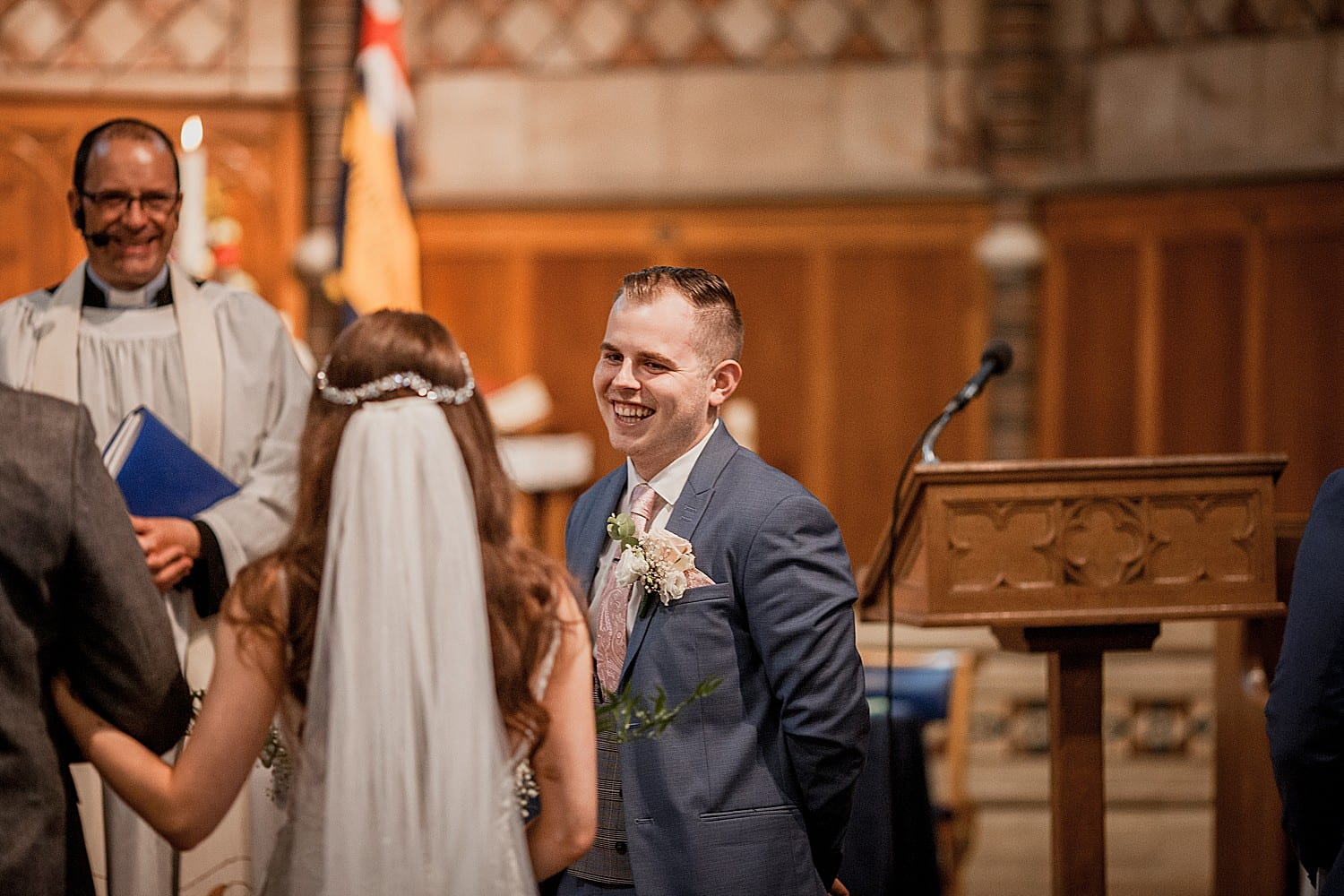 Groom sees his bride at Staffordshire wedding
