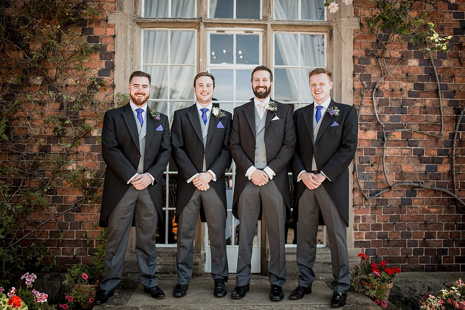 groom and groomsmen at cheshire wedding