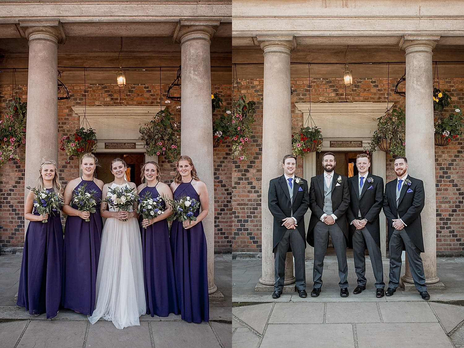 bridal party at cheshire wedding