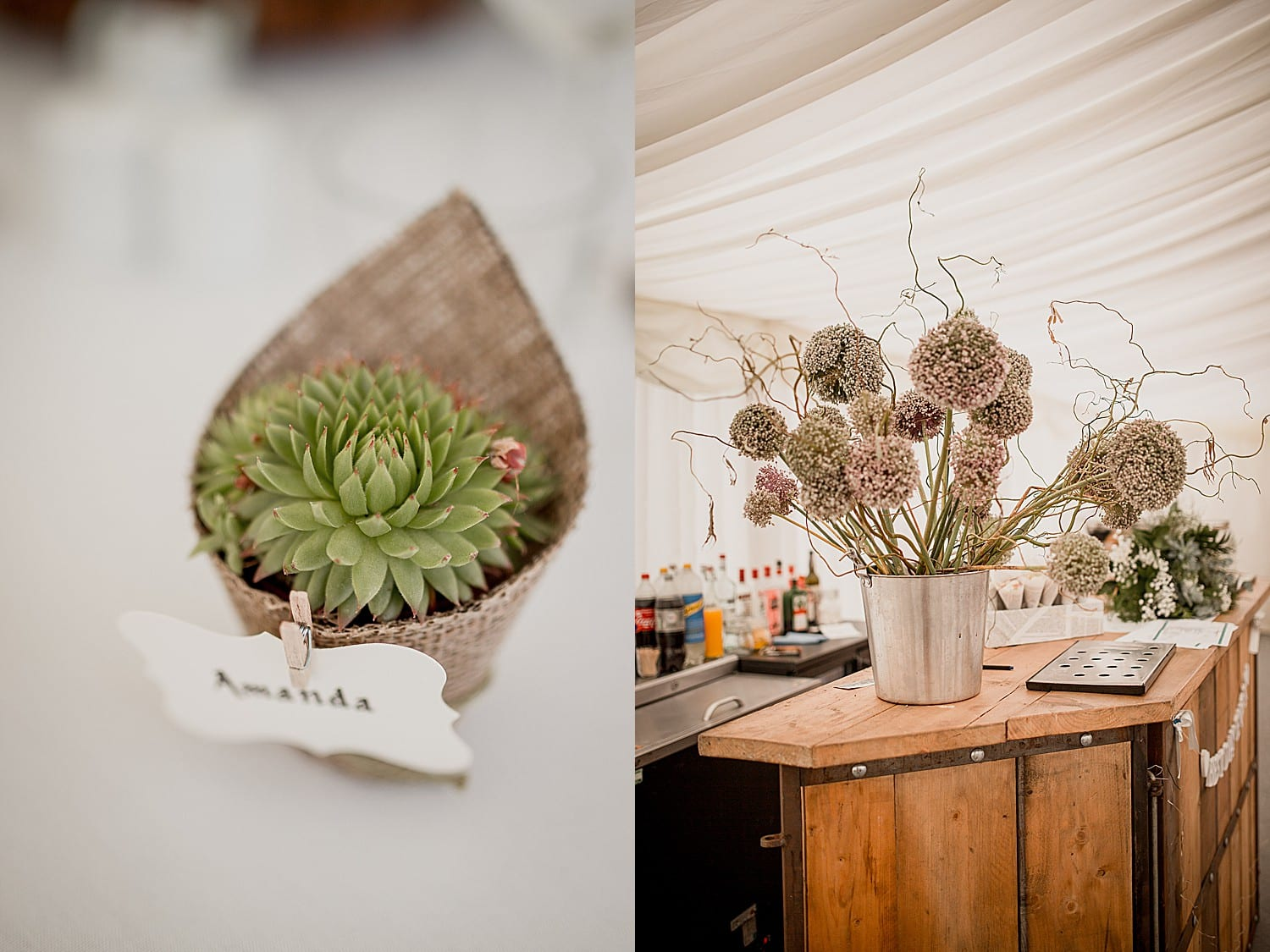 flowers and favours at cheshire wedding