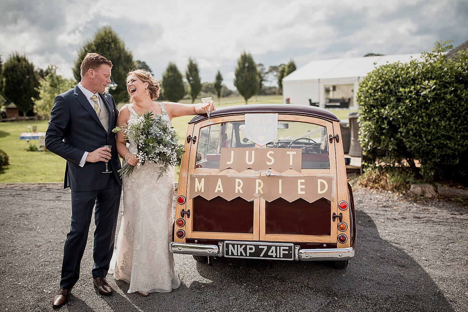 vintage car at cheshire wedding