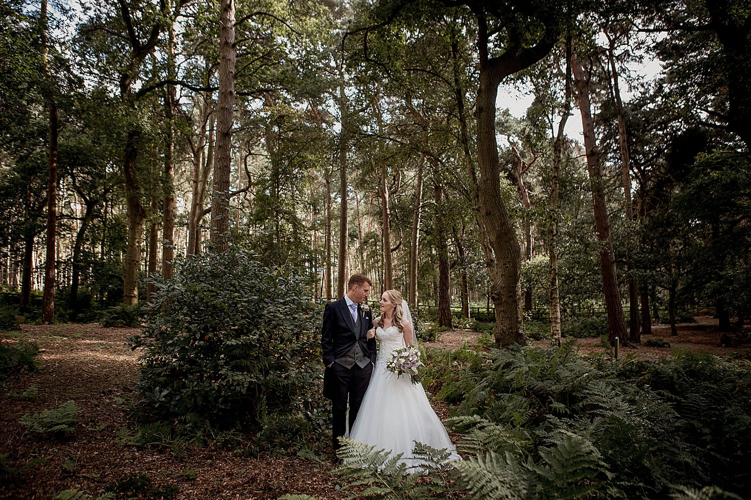 woodland bride and groom at abbeywood estate in cheshire