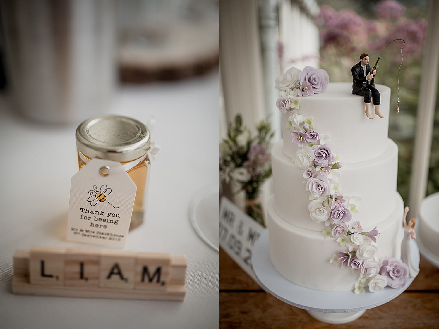 favours and wedding cake at abbeywood estate