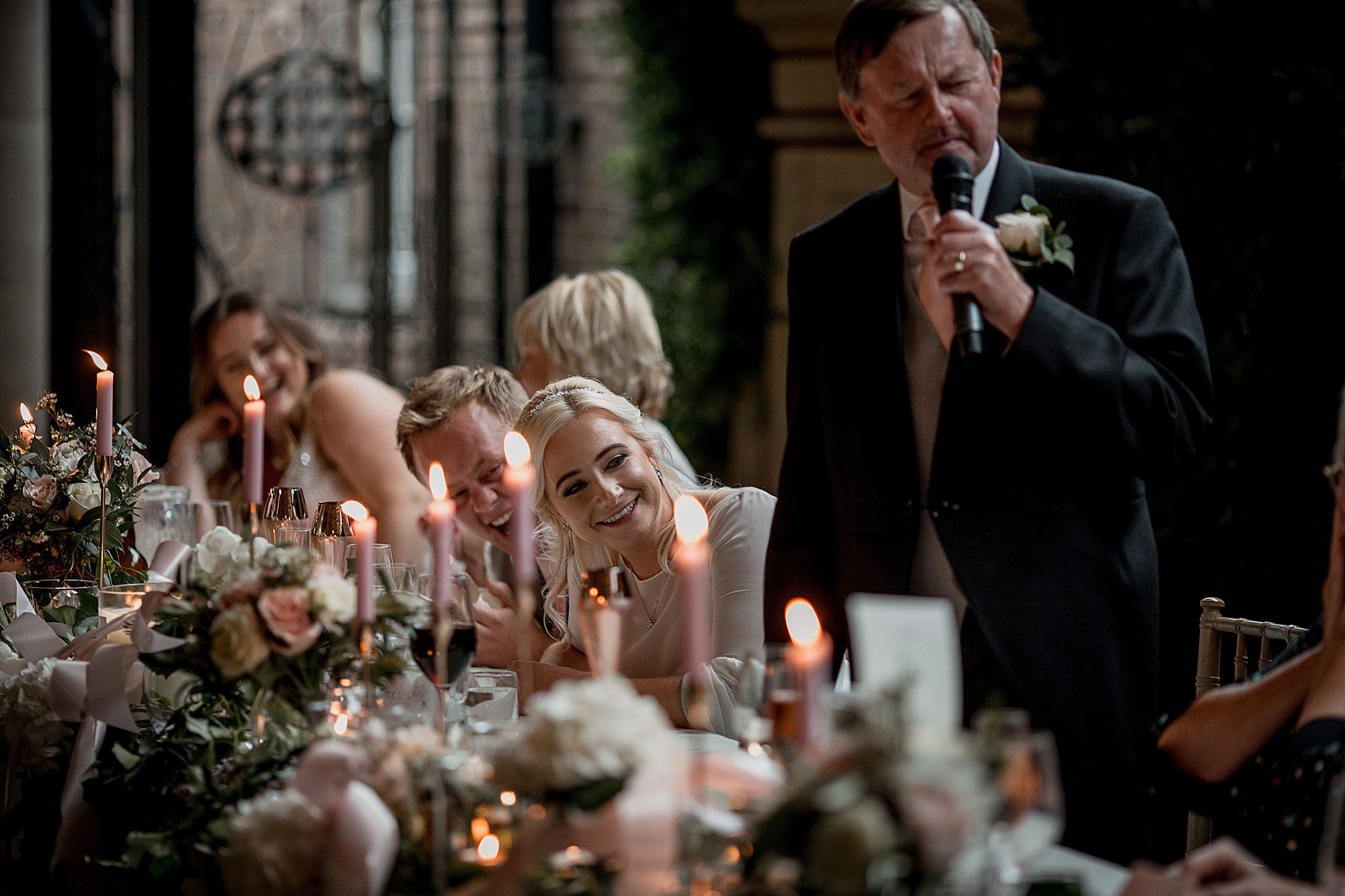speeches in the courtyard at delamere manor