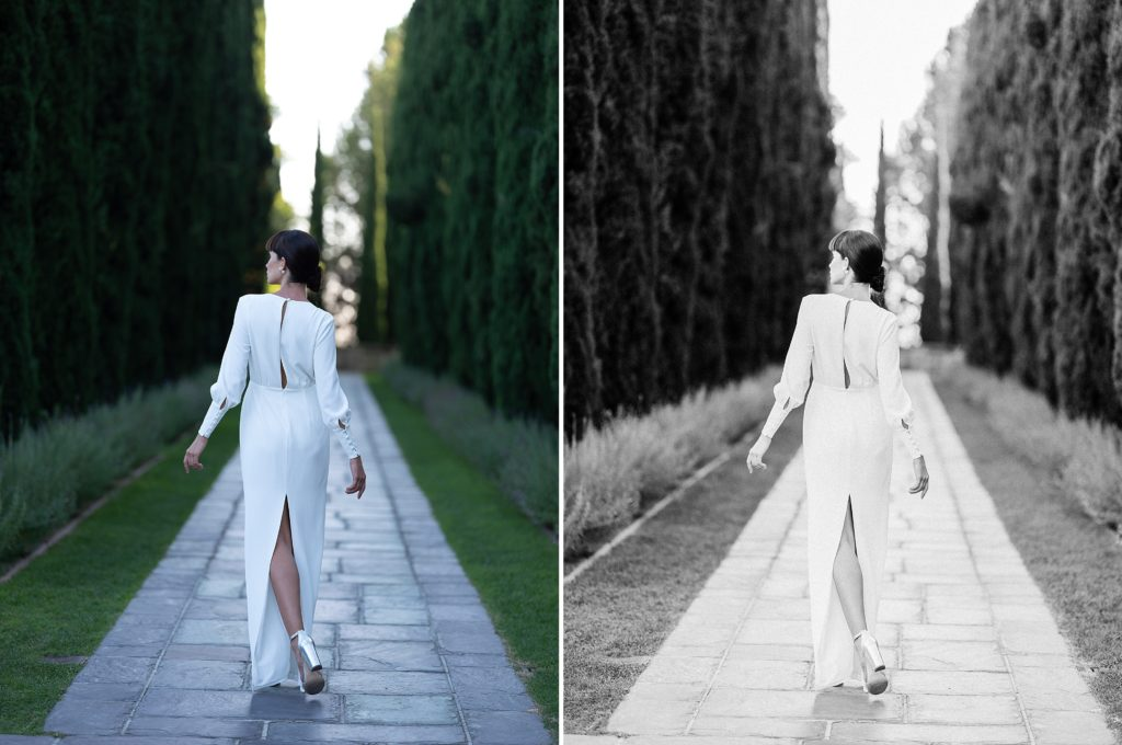 bridal shoot in black and white before and after images edited with refined x caroline tran presets