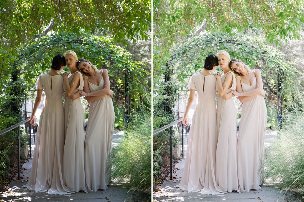 bridal shoot in open shade before and after images edited with refined x caroline tran presets