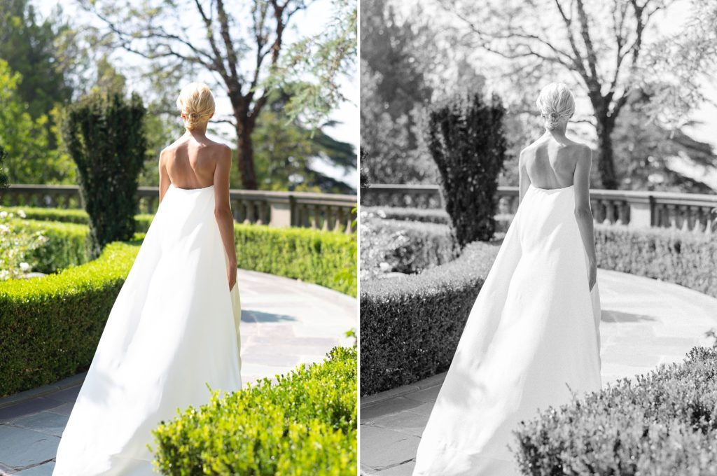 bridal shoot in full sun before and after images edited with refined x caroline tran presets