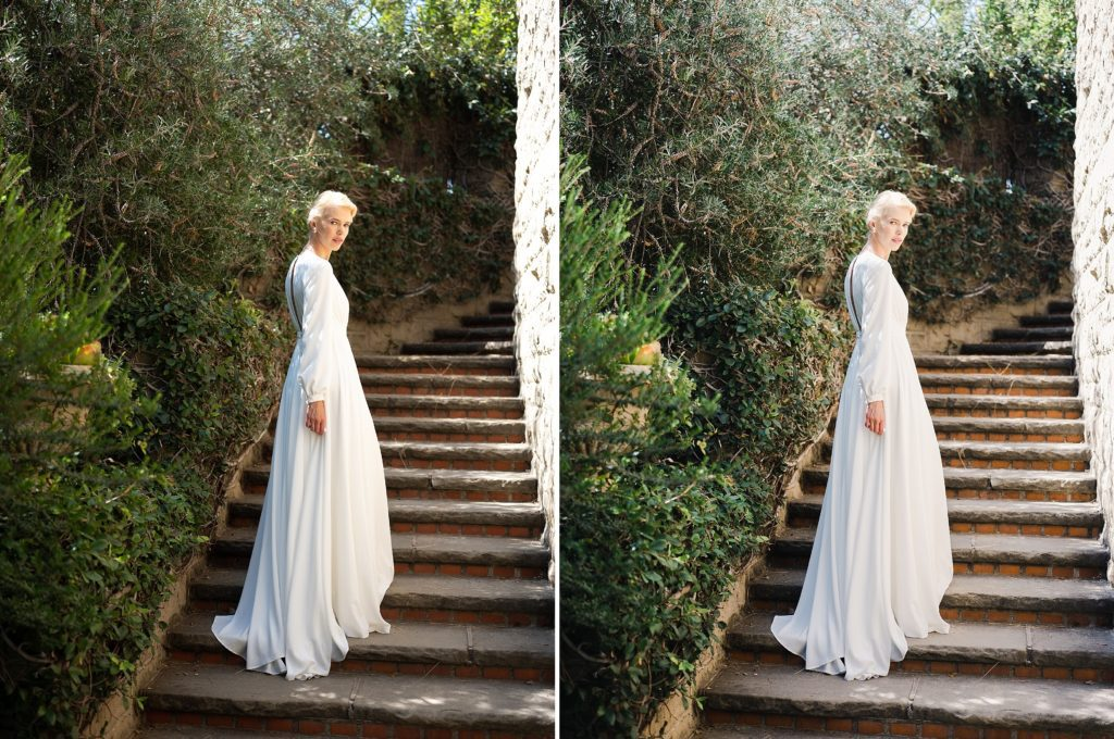 bridal shoot before and after images edited with refined x caroline tran presets